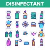 Odkażalnik, Antibacterial substancji koloru linii Wektorowe ikony Ustawiać ilustracji