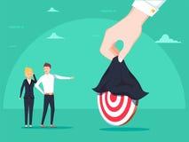 Odkrywać cel Ręki mienie odkrywa chującego cel Biznesowa wektorowa pojęcie ilustracja ilustracja wektor