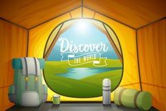 Odkrywa światowego plakat, widok z wewnątrz namiotu ilustracja wektor