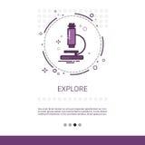 Odkrywa mikroskop nauki wyposażenia technologii sieci sztandar Z kopii przestrzenią ilustracja wektor