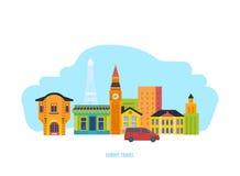 Odkrywa widoki, kulturę, tradycje, atmosferę, otoczenia, miasto i ulicy, ilustracja wektor