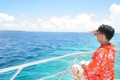 odkrywa wyspę Obraz Royalty Free