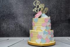 Odkrywczość domowej roboty rodzaj wyjawia świętowanie tort fotografia stock