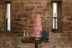 Odkrywczość ślubny tort zdjęcie stock
