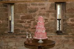 Odkrywczość ślubny tort zdjęcia royalty free