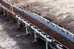 Odkrywkowa brown kopalnia węgla Pasowy konwejer Obrazy Royalty Free