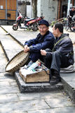 Odl people chatting in yuantong town,in sichuan,china Stock Photography