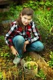 Odlar den härliga flickan för preteenen groddar i vårmarknad-trädgård arkivbilder