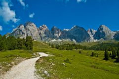 The Odle, Dolomites - Italy. The hiking trail to the Odle Group, Dolomites - Italy stock photos