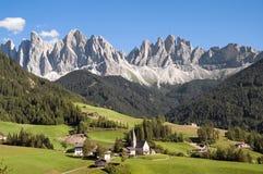 Odle, Funes dolina, południowy Tyrol, Włochy Fotografia Royalty Free