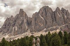 Odle, Funes dolina, południowy Tyrol, Włochy Obrazy Royalty Free