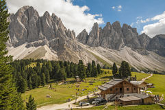 Odle,funes valley,south tyrol,Italy. Alpine landscape on italian dolomites Stock Photography
