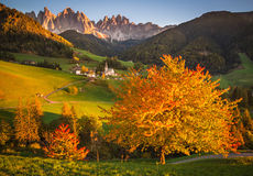 Odle. And Funes Valley during a sunny day Stock Photos