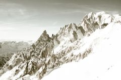 Odle mountains chain separating the Funes valley from the Gardena valley, taken from the Seceda refuge. Italian alps Royalty Free Stock Photo