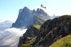 The Odle mountains, Dolomites in Italy. A view of a mountain landscape. These are the Odle mountains in the Dolomites, Northern Italy Stock Image