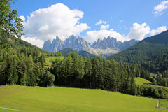 Odle Mountains. View from St. Magdalena to Odle Mountains in Funes Valley. Dolomites. South Tyrol. Italy Stock Image