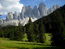 Odle peaks. The Odle Group from Funes Valley; Dolomites; Sudtirol; Italy Royalty Free Stock Images