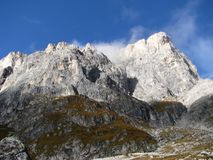 Odle Puez自然公园,白云岩阿尔卑斯,意大利的山脉 库存图片