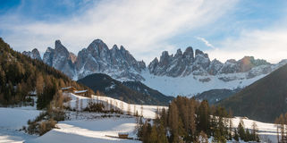 Odle and val di Funes in winter with snow Stock Images