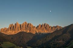 Odle, valle di funes, Tirolo del sud, Italia Fotografie Stock