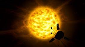 Odległa układu słonecznego statku kosmicznego eksploracja ilustracja wektor