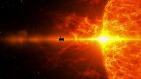 Odległa układu słonecznego statku kosmicznego eksploracja ilustracji