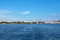 Odległość panoramiczna Pula linia brzegowa, Chorwacja obraz royalty free