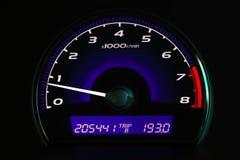 Odległość w milach na samochodowej konsoli, Samochodowa deska rozdzielcza Zdjęcia Stock