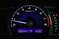 Odległość w milach na samochodowej konsoli, Samochodowa deska rozdzielcza Zdjęcie Stock