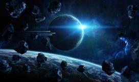 Odległy planeta system w przestrzeni z exoplanets 3D renderingu elem royalty ilustracja