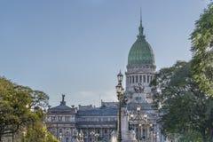 Odległy widok Kongresowy pałac w Buenos Aires Argentyna fotografia stock