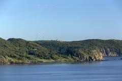 Odległy widok Tęskniłem punktu latarnia morska, Twillingate zdjęcie royalty free