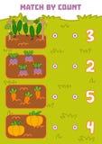 Odliczająca gra dla Preschool dzieci Hrabiowscy warzywa ilustracja wektor