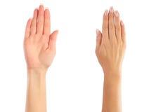 odliczające żeńskie ręki Zdjęcia Stock