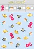 Odliczające dziecka ` s edukacyjne gry, dziecka ` s prześcieradło Ile przedmiotów zadanie, morski życie, denny temat obraz stock