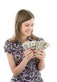 odliczającej dziewczyny szczęśliwy pieniądze ja target18_0_ Obrazy Stock