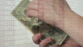 Odliczający dolarowi rachunki ręcznie zbiory