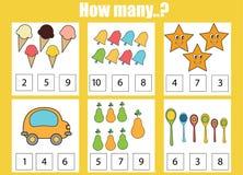 Odliczający edukacyjni dzieci gry, dzieciak aktywność Ile przedmiotów dają zadanie Obraz Stock