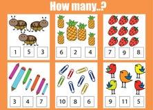 Odliczający edukacyjni dzieci gry, dzieciak aktywność Ile przedmiotów dają zadanie zdjęcie stock