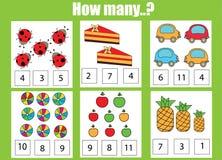 Odliczający edukacyjni dzieci gry, dzieciak aktywności worksheet Ile przedmiotów dają zadanie ilustracji