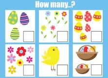 Odliczający edukacyjni dzieci gry, dzieciak aktywności worksheet Ile przedmiotów dają zadanie ilustracja wektor