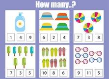 Odliczający edukacyjni dzieci gry, dzieciak aktywności worksheet Ile przedmiotów uczenie matematyki ilustracja wektor