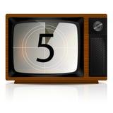 Odliczanie 5 na TV Zdjęcie Stock