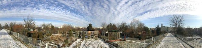 Odlingslottar i snöig vinter Fotografering för Bildbyråer