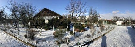 Odlingslottar i snöig vinter Royaltyfri Fotografi