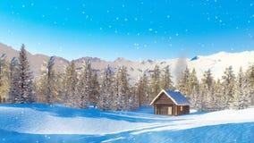 Odludna halna kabina przy opad śniegu zimy dniem zbiory
