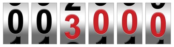 Odómetro de 3000 rojos Imagen de archivo