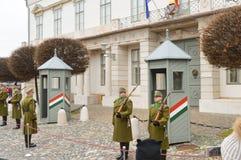 Odmienianie Ceremonialna elita piechota blisko Buda kasztelu w Budapest obraz stock