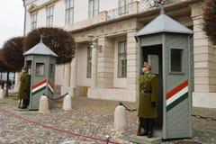 Odmienianie Ceremonialna elita piechota blisko Buda kasztelu w Budapest fotografia royalty free