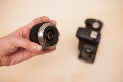Odmienianie obiektyw na cyfrowej kamerze Obraz Royalty Free